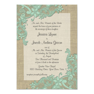 Vintage Country Lace Design Mint Green 5x7 Paper Invitation Card