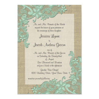 """Vintage Country Lace Design Mint Green 5"""" X 7"""" Invitation Card"""