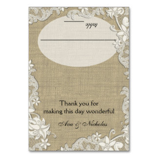 Vintage Country Lace Design Seating Card Table Card