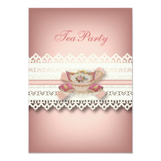 vintage country lace pink  floral teacup tea party card