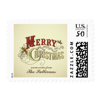 Vintage Country Merry Christmas Typography Stamps