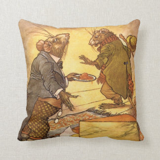 Vintage Country Mouse, City Mouse Aesop's Fable Pillow