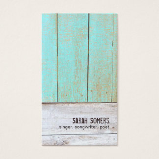 Vintage Country Nature Rustic Turquoise Wood Business Card