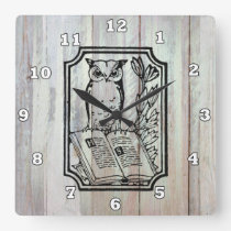Vintage Country owl book lovers clock