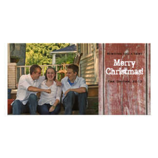 Vintage Country Red Barn Wood Photo Christmas Card Customized Photo Card