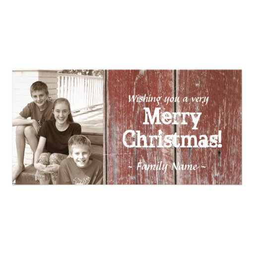 Vintage Country Red Barn Wood Photo Christmas Card Picture Card