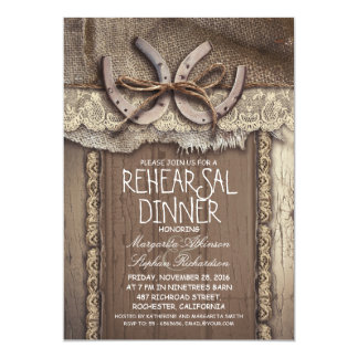 "vintage country rehearsal dinner invitations 5"" x 7"" invitation card"