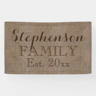 Vintage Country Rustic Burlap Name Banner