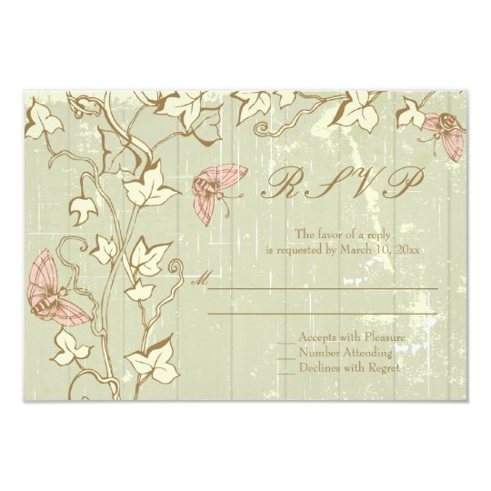 Vintage country rustic cream wedding RSVP reply Card