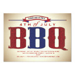 "Vintage Country Rustic July 4th BBQ Invitation 5"" X 7"" Invitation Card"