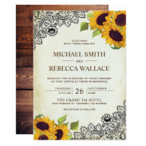 Vintage Country Rustic Lace Sunflower Wedding Invitation