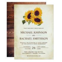 Vintage Country Rustic Sunflower Wedding Invitation