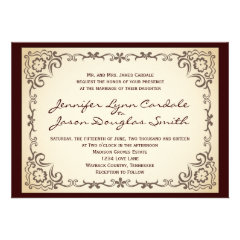 Vintage Country Scroll Frame Wedding Invitations