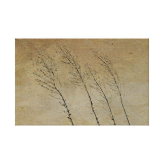 Vintage Country Series: 3 Grass Stalks Gallery Wrap Canvas