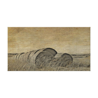 Vintage Country Series: Hay Bales Stretched Canvas Prints