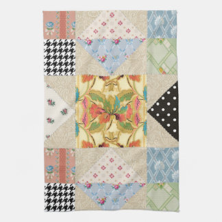 Vintage Country Style Evening Star Quilt Pattern Kitchen Towels