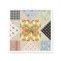 Vintage Country Style Evening Star Quilt Pattern Paper Napkin