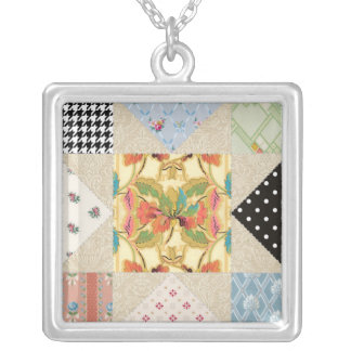 Vintage Country Style Evening Star Quilt Pattern Silver Plated Necklace