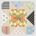 Vintage Country Style Evening Star Quilt Pattern Square Sticker