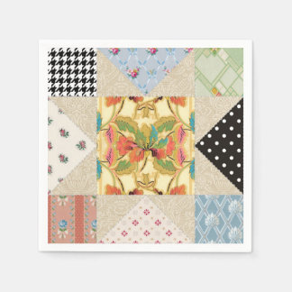 Vintage Country Style Evening Star Quilt Pattern Standard Cocktail Napkin
