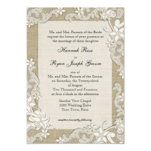 Vintage Country Style Lace Design and Burlap 5x7 Paper Invitation Card