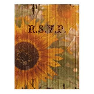 vintage country sunflower wedding response RSVP Postcard