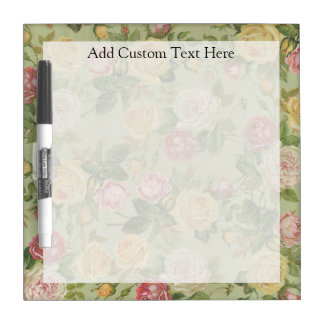 Vintage Country Weathered Floral Dry Erase Board