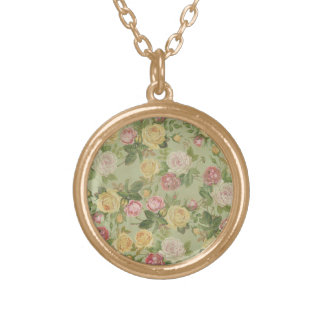 Vintage Country Weathered Floral Gold Plated Necklace