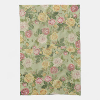 Vintage Country Weathered Floral Hand Towels