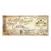 Vintage Country Western Rustic Bridal Shower Invitation