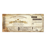 Vintage Country Western Themed Ticket Wedding 4x9.25 Paper Invitation Card