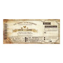 Vintage Country Western Themed Ticket Wedding Invitation