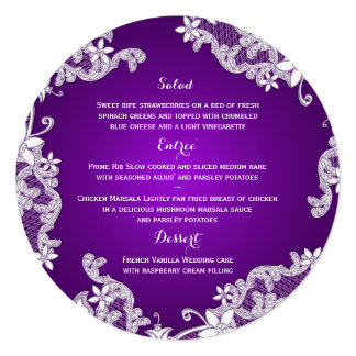 Vintage Country White Lace & Purple Round Menu Card