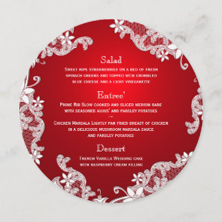Vintage Country White Lace Red Round Menu