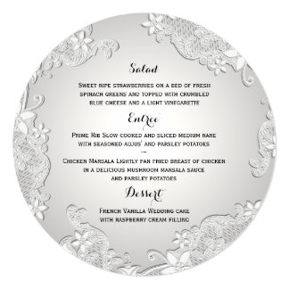 Vintage Country White Lace Round Menu Card