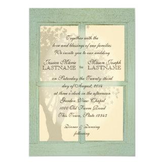 Vintage Country Window Pane Wedding Card