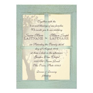 Vintage Country Window Pane Wedding Custom Invites