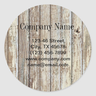 vintage country wood grain construction business classic round sticker