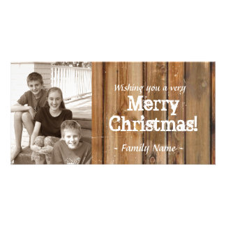 Vintage Country Wood Planks Photo Christmas Card
