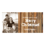 Vintage Country Wood Planks Photo Christmas Card Photo Card