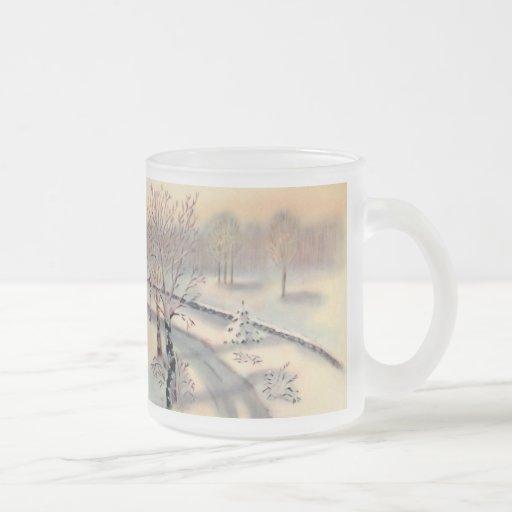 Vintage Countryside Christmas Frosted Glass Mug