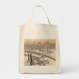 Vintage Countryside Christmas Organic Grocery Tote