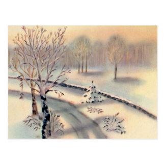 Vintage Countryside Christmas Postcard