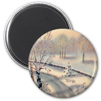 Vintage Countryside Christmas Round Magnet