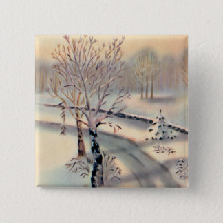 Vintage Countryside Christmas Square Button
