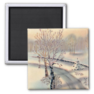 Vintage Countryside Christmas Square Magnet
