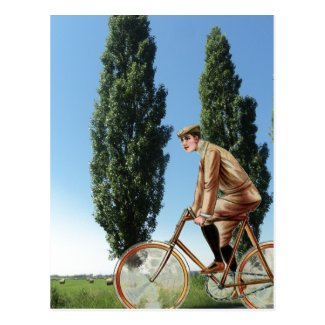 Vintage  countryside cycling postcard