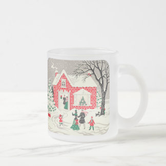Vintage Countryside Greetings Frosted Glass Mug