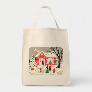 Vintage Countryside Greetings Organic Grocery Tote
