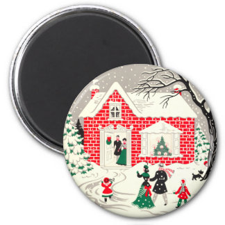 Vintage Countryside Greetings Round Magnet